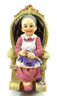 Grandma Knitting on Rocking Chair Resin Figure Figurine Ornament My 2013