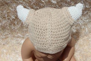 New Cotton Handmade Baby Tauren Viking Knit Hat Photo Prop Newborn to 3 Year