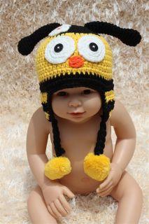 New Cute Cotton Handmade Baby Knit Crochet Bee Hat Cap Newborn Photo Prop Gift