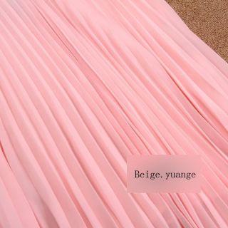 Maxi Long Pleated Chiffon Skirt Dress Navy Blue Red Pink Beige Orange Baby Pink