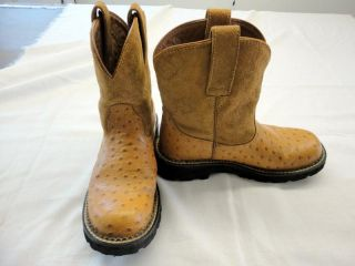 Ariat Fat Baby Ostrich Print Cognac Boots 14728 Cowgirl Women's Size 7B Nice