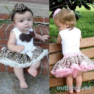 Baby Girl Kids Leopard Tutu Dress 2 Pcs Outfits Flowers Top Skirt Set 1 4 Years