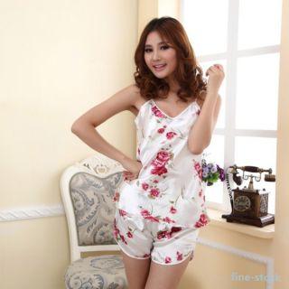 Womens Sexy Rose Flower Sleepwear Braces Shirts Shorts Underwear Pajamas Robes