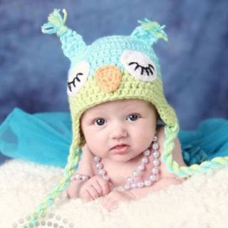 Cute Toddler Baby Girls Boys Owls Animal Crochet Knit Woolly Cap Ear Pigtail Hat