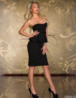 Black Womens Lady Sexy Strapless Mini Dress Dancing Party Club Dress UK 6 US 4