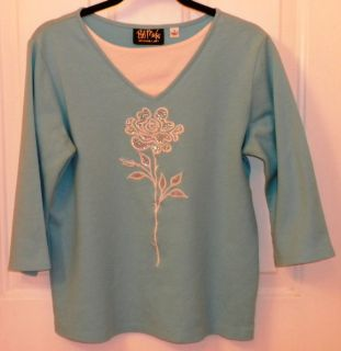Bob Mackie Wearable Art Knit Top with Sequins Embroidery Aqua White Small