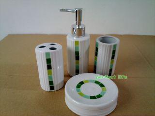 Circlefashion 4 Pieces Ceramic Bathroom Accessories Set Vanity Dispenser GV 3035
