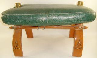 Vintage Camel Green Saddle Bench Stool Chair