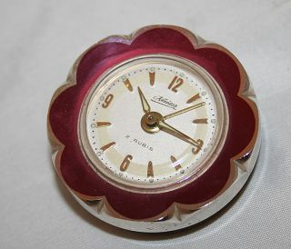 Antique Metal Kaiser Alarm Clock Flower Germany 1960C