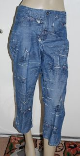 Liz Claiborne Size 8 Michaela Capris Nautical Sailboat Denim Crop Pants Jeans 8