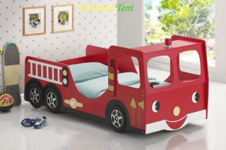 Good Trading Kids Twin Fire Truck Bed in Red Finish