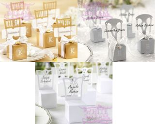 Wedding Favour Boxes Place Card Holders Gold Silver with Ribbon Heart