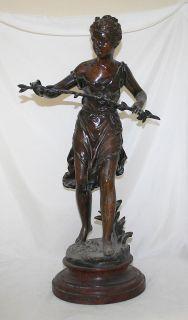 Antique Spelter Statue Sculpture Ernest Rancoulet Lady 19th Century