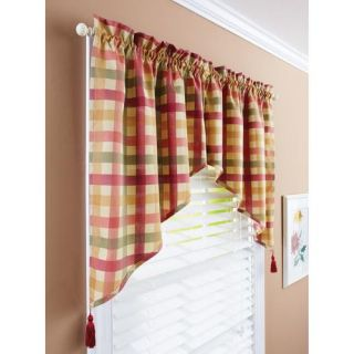 Red Green Yellow Tan Country Plaid Kitchen Curtains Valance Or Tiers . ...