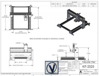 Frame Only 2' x 2' CNC Router 25x25 DIY CNC Router Velox CNC California USA