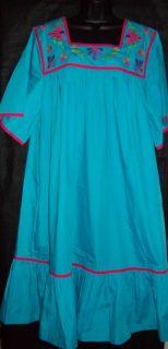 Go Softly Patio House Dress Muu Caftan Duster Poplin Wrinkle Resist Turq 1x
