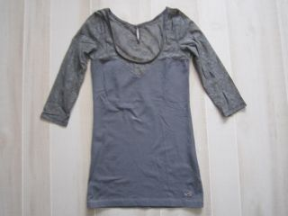 Hollister Abercrombie 3 4 Sleeve Lace Sweetheart Neckine Tunic Dress Pink Gray L