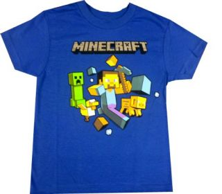 "Minecraft Boys ""Steve"" Short Sleeve Shirt Extra Small 4 5 Apparel"