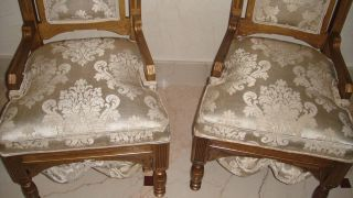 Pair French Antique High Back Elegant Throne Chairs Silk Brocade Fabric