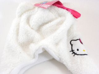 Hello Kitty White Pink Fluffy Fleece Beanie Trapper Winter Hat Toddler Girl Size
