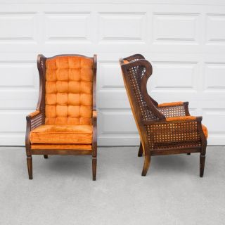 Vtg Hollywood Regency Orange Velvet Tufted Wing Back Caned Arm Chair Mid Century