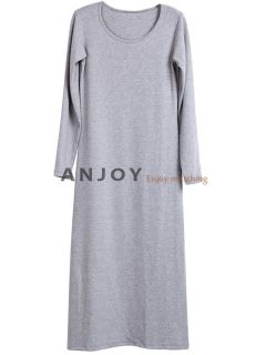 New Women Plain Round Neck Long Sleeve Long Casual Maxi Dress Full Length Dress