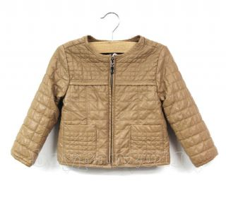 New Kids Girls Long Sleeve Faux Leather Quilted Coat Jackets sz2 13Y