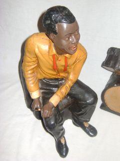 African American Paper Mache Plaster Man Suit Drum Set Statue RARE Art Decor
