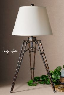 Tustin Table Lamp Metal Tripod Oxidized Bronze Industrial Chic
