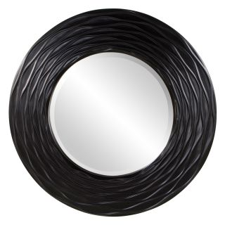 "Alison Wall Mirror Black Matte Lattice Relief Round Mirror Large 23"" Diam"