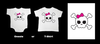 Punk Pirate Girl Skull Baby Onesie T Shirt Rock N Roll
