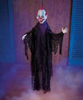 Halloween Lighted Animated Scary Hanging Clown Interactive Motion Sound Monster
