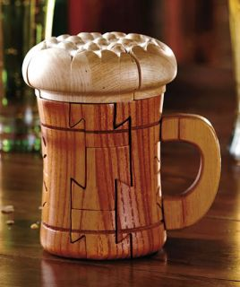 Wood Wooden Bar Puzzle Beer Mug Wine Bottle Glass Alcohol Gift Man Cave Decor