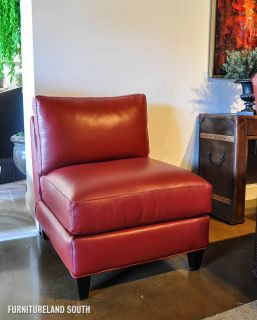 Envision by Bradington Young Wiki Red Leather Armless Chair