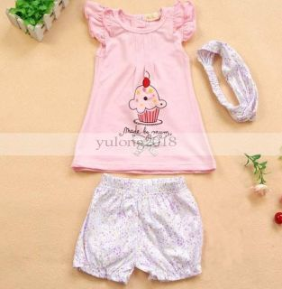 Lovely 3pcs Kid Baby Girl T Shirt Top Pants Headband Outfit Clothes Pink Cake