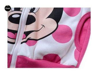 Lovely Minnie Mouse Kids Toddler Baby Girl Pink Zipper Fleece Funny Hoodies Coat