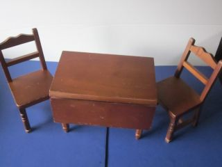 American Girl Molly Wood Table Chairs Set Pleasant Company Retired TLC
