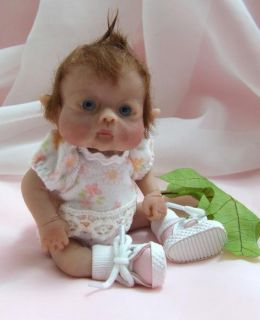 OOAK Sculpted Baby Girl Leprechan Fairy Elf Polymer Clay Art Doll Collectible