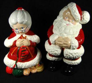 Vtg Atlantic Mold Christmas Large Painted Ceramic Mr Mrs Santa Claus Figurines