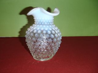 "Vintage Fenton Opalescent Hobnail 5 3 4"" Vase Ruffled Edge Clear Blue to White"