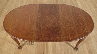 Antique English Solid Oak Queen Anne 6ft Oval Dining Table w Crank c1940 P95