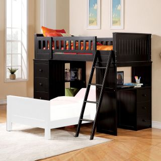 Willoughby Youth Kids Girls Boys Child Twin Loft Bed Ladder Storage Black Finish