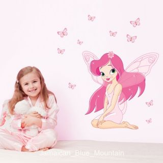 Cartoon Pink Lovely Fairy Butterflies Wall Sticker Decal