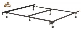 Heavy Duty 6 Leg Adjustable Universal Metal Bed Frame with Double Center Support