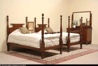 Cowan 1900 Antique 3 PC Bedroom Set Dresser Pair Twin Poster Beds
