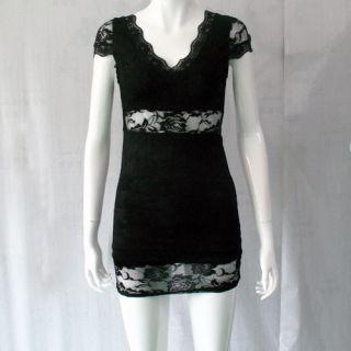 Elegant Womens Ladies Sexy Lace Low Neck Slim Elegant Mini Dress 2 Colors