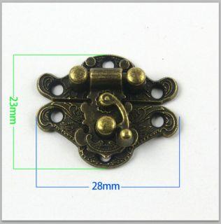10 Antique Brass Decorative Hasp Jewelry Box Hasp Latch Lock 28x23mm with Screws