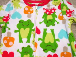 Girls Fall Winter Fleece Blanket Sleeper Pajamas PJs 2T Carters Frogs Must See