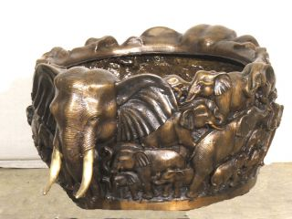 Large Cast Bronze Elephant Bowl Urn Planter