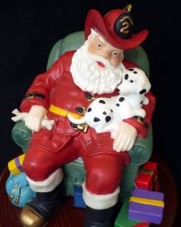 Fireman Santa Claus Figure Porcelain Hand Painted Figure Wooden Base